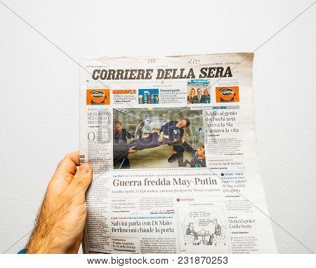 Paris, France - Mar 19, 2018: Pov At Italian Corriere Della Sera Newspaper With Portrait Of Stephen