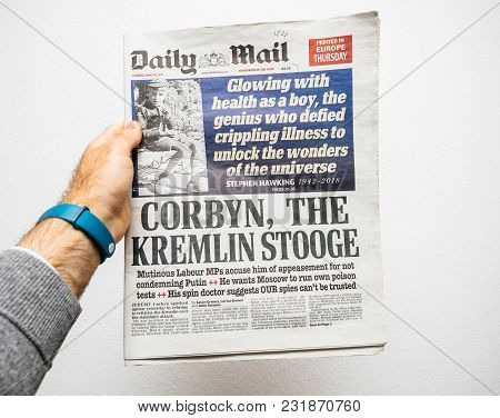Paris, France - Mar 19, 2018: British Daily Mail Newspaper With Portrait Of Stephen Hawking The Engl
