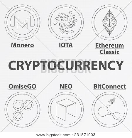 Set Of 6 Crypto Currency Lineart Icon. Linear Monero, Iota, Ethereum Classic, Omisego, Neo And Bitco