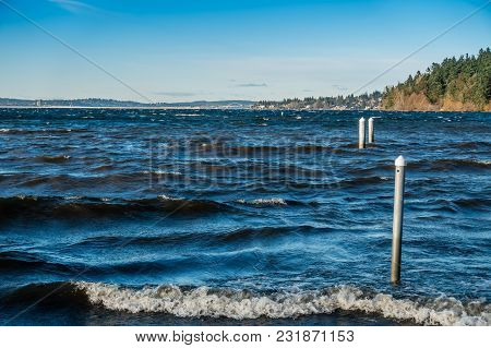 A Veiw Of Lake Washington On A Windy Day.