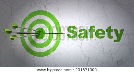 Success Privacy Concept: Arrows Hitting The Center Of Target, Green Safety On Wall Background, 3d Re