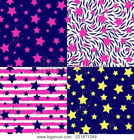 Teen Party Abstract Stars, Striped Seamless Pattern Set. Vector Fashion Texture, Bithday Fids Backgr