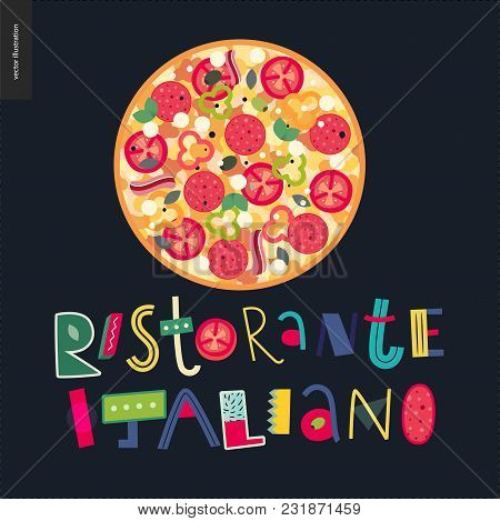 Italian Restaurant Set - Pizza And Lettering Italian Restaurant In Italian