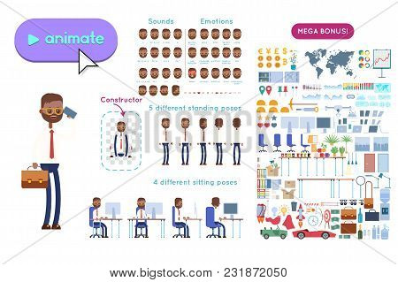 Animation Set Indian Businessman Character. Animation Of Sounds, Emotions. View Straight, Side, Back