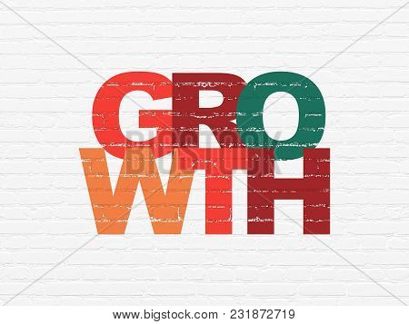 Finance Concept: Painted Multicolor Text Growth On White Brick Wall Background