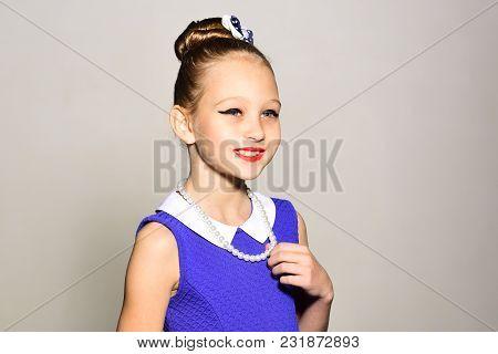 Little Girl In Vintage Dress, Prom. Child Girl In Stylish Glamour Elegant Dress. Retro Girl, Fashion