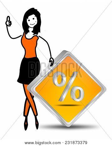 Female Stick Figure With Orange Discount Button - Illustration