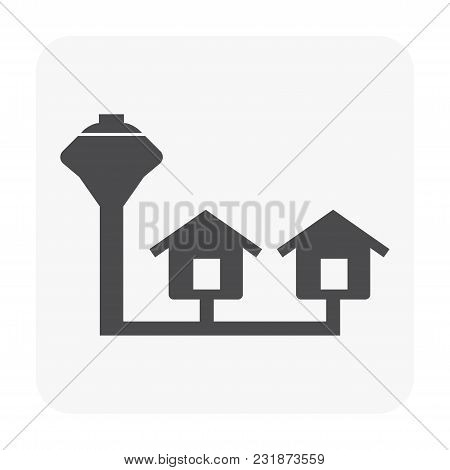Water Tank Tower Icon Isolated On White Background.