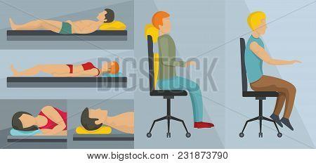 Orthopedic Pillow Banner Concept Set. Flat Illustration Of 3 Orthopedic Pillow Vector Banner Horizon