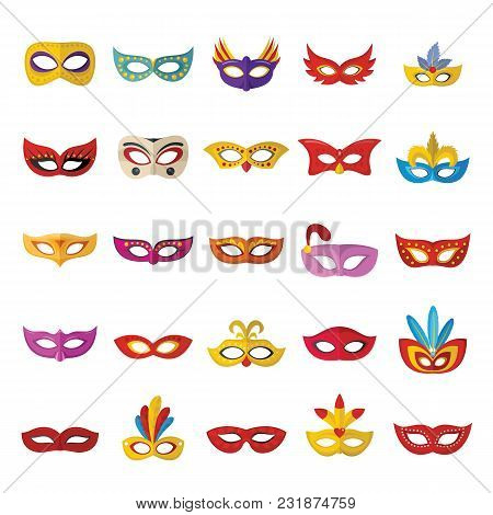 Carnival Mask Venetian Icons Set. Flat Illustration Of 25 Carnival Mask Venetian Icons For Web