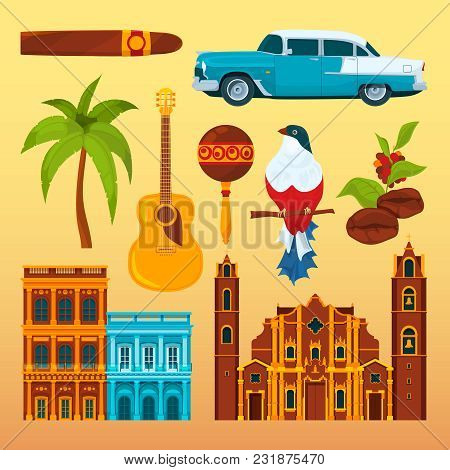 Havana Cigar And Others Differents Cultural Objects And Symbols Of Cuba. Vector Cuban National Landm