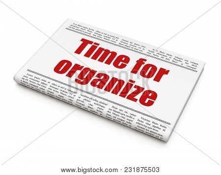Timeline Concept: Newspaper Headline Time For Organize On White Background, 3d Rendering