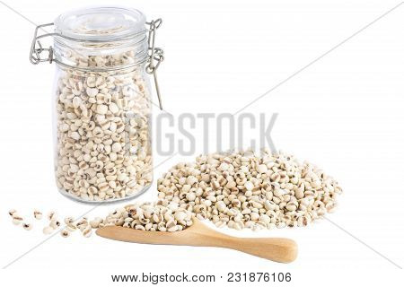 Heap Of Job's Tears Or Coix Lacryma-jobi A Lot Of With Copy Space For Text Isolated On White Table B