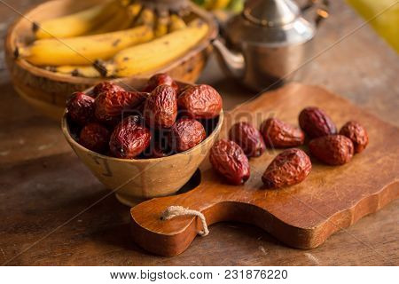 Dried Red Date Or Chinese Jujube. Traditional Herbal Medicine.