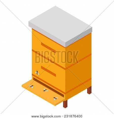 Wooden Hive Icon. Isometric Illustration Of Wooden Hive Vector Icon For Web