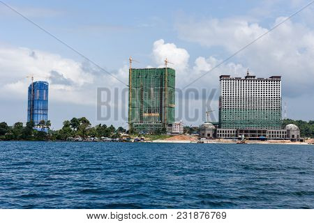Modern High-rise Buildings Under Construction At Sihanoukville On Cambodia