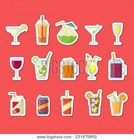 Vector Stickers Set With Alcoholic Drinks In Glasses And Bottles In Flat Style Elements. Alcohol Bot