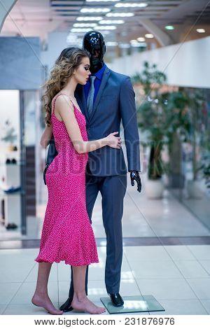 Shop Mannequin And Woman Shopper, Shopaholic. Shop, Shopping Mall, Store, Centre.