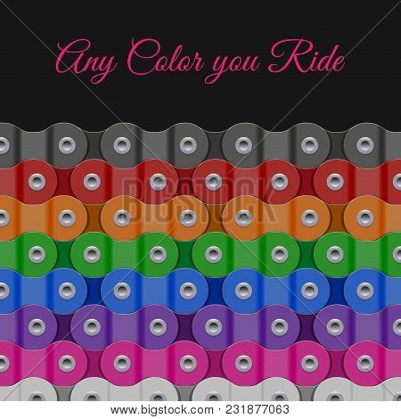 Multicolored Vector Background Made Of Bike Or Bicycle Chain. Realistic Detailed Bike Chain.