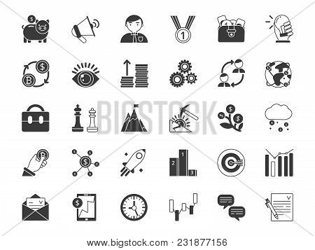 Business And Finance Symbols. Monochrome Icons Set Isolate On White Background. Business Finance Ico