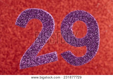 Number Twenty-nine Purple Color Over A Red Background. Anniversary. Horizontal