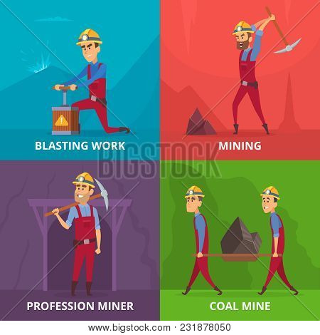 Concept Illustrations Of Miners Characters At Work. Profession Of Miner Man, Job Industrial Vector