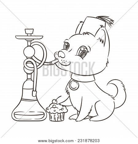 Happy Golden Cartoon Puppy Smoking Hookah In Turban. Cute Little Dog Wearing Collar. Vector Illustra