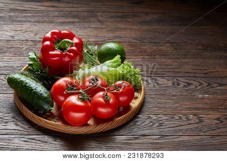 Orgenic Seasoning Close-up Still Life Of Assorted Fresh Vegetables And Herbs On Vintage Wooden Backg