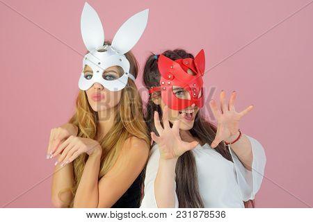 Beautiful Dominant Brunette And Blond Vamp Mistress Girls, Fashion And Bdsm, Fetish Rabbit Mask On P