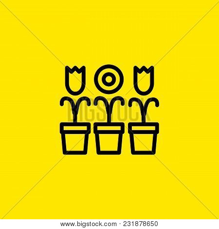 Icon Of Three Flowers In Pots. Plants, Gardening, Growth. Nature Concept. Can Be Used For Topics Lik