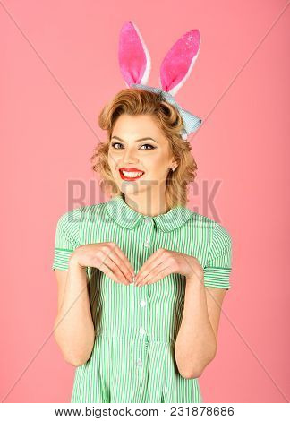 Easter, Makeup, Pinup Party, Girl In Rabbit Ears. Happy Easter Concept.