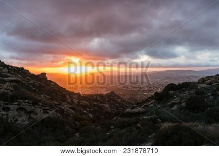 Winter storm clouds with sunset above Simi Valley in Ventura County near Los Angeles California.
