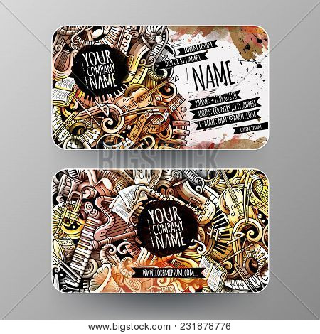 Cartoon Graphics Watercolor Vector Hand Drawn Doodles Classic Music Corporate Identity. 2 Id Cards D