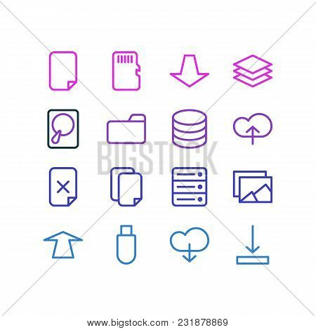 Vector Illustration Of 16 Storage Icons Line Style. Editable Set Of Sd Card, Download, Album And Oth