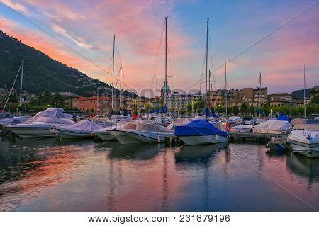 Boats In A Mountain Lake Como, Italy At Sunrise