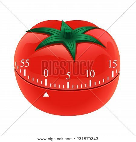 Tomato Timer Mockup. Realistic Illustration Of Tomato Timer Vector Mockup For Web