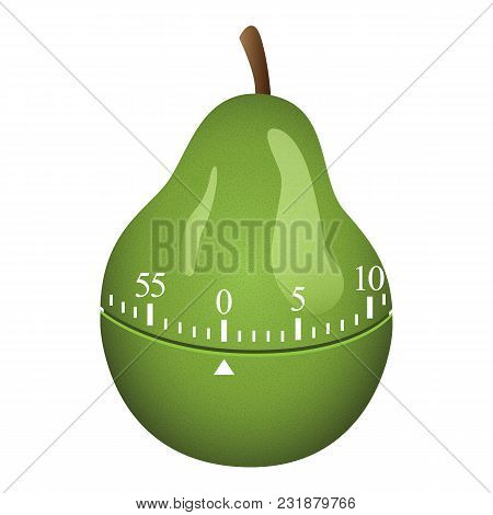 Pear Timer Mockup. Realistic Illustration Of Pear Timer Vector Mockup For Web