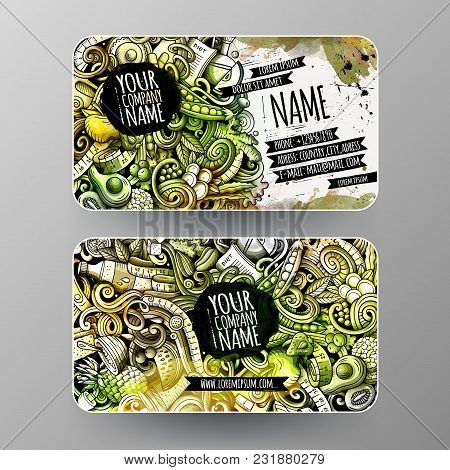 Cartoon Graphics Watercolor Vector Hand Drawn Doodles Diet Food Corporate Identity. 2 Id Cards Desig