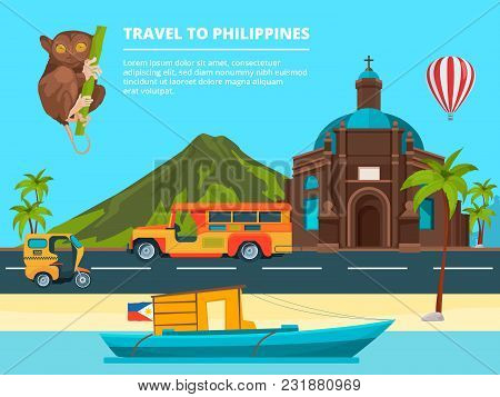 Urban Landscape With Landmarks Of Philippines. Banner Journey And Trip Philippines, Traditional Land
