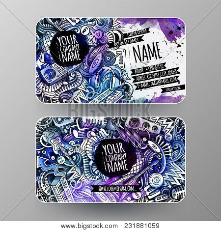 Cartoon Graphics Watercolor Vector Hand Drawn Doodles Disco Music Corporate Identity. 2 Id Cards Des
