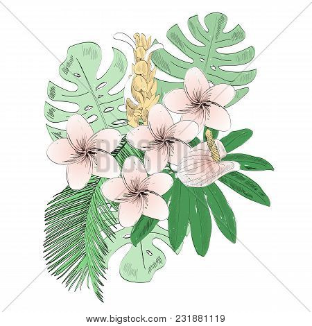 Tropical Vector Illustration With Leaves And Flowers.