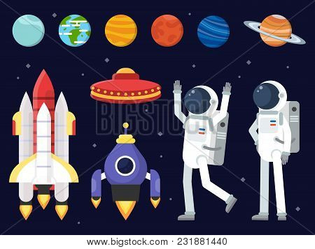 Set Of Planets, Space Shuttles And Astronauts In Flat Style. Rocket And Astronaut, Spaceship And Shu