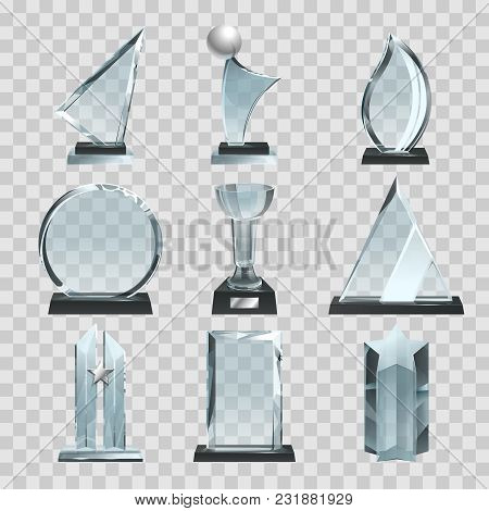 Glossy Transparent Trophies, Awards And Winner Cups. Vector Illustration. Achievement Glass For Winn
