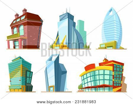Set Of Different Modern Buildings In Cartoon Style. Building Modern City, Town Exterior Architecture