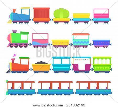 Childrens Toys. Miniatures Of Colored Cartoon Trains. Locomotive Train Toy, Miniature Railroad Trans