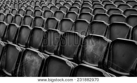 Black Tribune Empty Seats, Close Up View