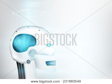 Robotic Human With An Artificial Intelligence Brain Is On Learning Process. Futuristic Design Concep