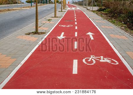 Red Bike Trail In City, Close View