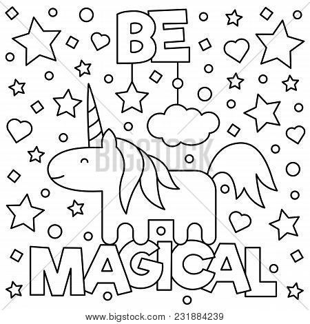 Unicorn. Coloring Page. Black And White Vector Illustration