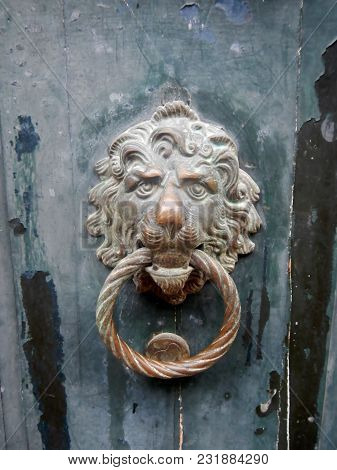 Old Brass Door Knocker, Lion's Head, Venice